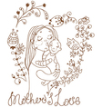 Background with mother and baby and flowers vector