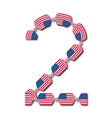 Number 2 made of usa flags in form of candies vector