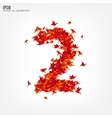 Number 2 numbers with origami paper bird on vector