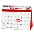 Holiday calendar for valentines day vector