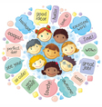 Cute personages gathering for communication vector