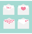Set of four envelopes with hearts love card vector