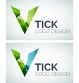 Tick logo design made of color pieces vector