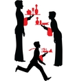 Silhouette waiter with the tray vector