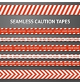 Set of red and white seamless caution tapes with vector