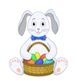 Rabbit with a basket of eggs vector