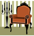 Interior scene with armchair vector