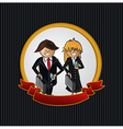 Service callcenter couple cartoon label icon vector