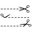 Cut lines with black scissors vector