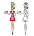 Housewife serving cake with cream - funny doodle vector