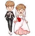 A sketch of a happy couple vector