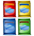Assorted packets of food vector
