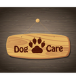 Dog care wooden sign background vector