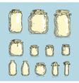 Set glass jars vector