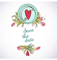 Save the date floral card vintage invitation vector