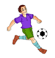 Cartoon boy - footballer kick vector