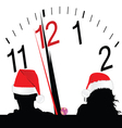Couple with red hat and a clock in the background vector