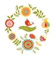 Card with a floral wreath vector