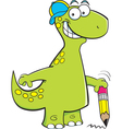 Cartoon brontosaurus holding a pencil vector