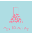 Love laboratory glass with hearts inside pink and vector