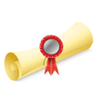 A rolled paper with a red ribbon vector