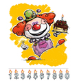 Clown carrying a birthday cake vector