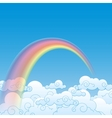 Colorful rainbow with cloud vector