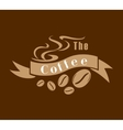 Coffee emblem in brown and white vector