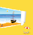 Beach with tearing paper color vector
