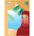 Beautiful arabian woman vector