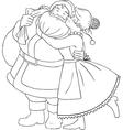 Mrs claus kisses santa on cheek and hugs coloring vector