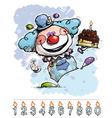 Clown carrying a boys birthday cake vector