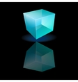 Blue glass cube on a smooth surface vector
