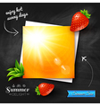Card with hot summer sun on a chalkboard vector