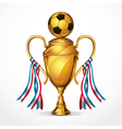 Soccer golden award trophy and ribbon vector