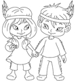 Indian boy and girl holding hands for thanksgiving vector