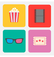 3d glasses ticket popcorn film cinema icon set vector
