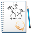 A notebook with a drawing of a girl riding a horse vector
