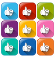 Buttons with hands showing approval vector
