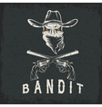 Grunge bandit skull with revolvers vector