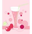 Glass of cherry juice vector