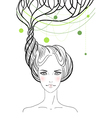 Beautiful girl with tree in her hair vector