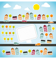 Abstract paper town with banner vector