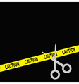 Scissors cut caution ribbon on the right flat desi vector