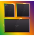 Set of empty photo frames on color background vector