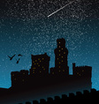 Silhouette of castle under the night sky vector