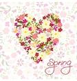 Floral heart card cute retro flowers vector