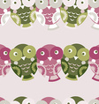 Cute colorful seamless pattern with owl green pink vector