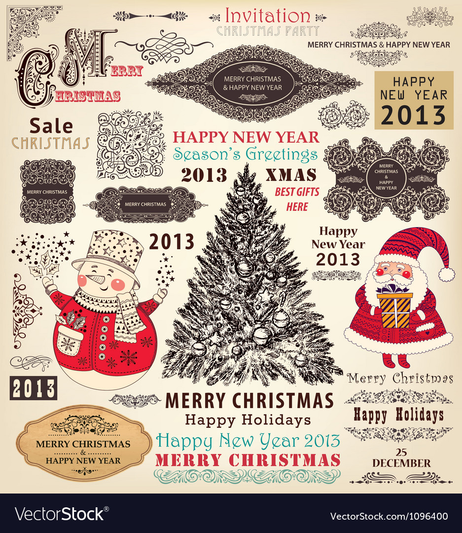 Collection of christmas ornaments and decor vector | Price: 3 Credit (USD $3)