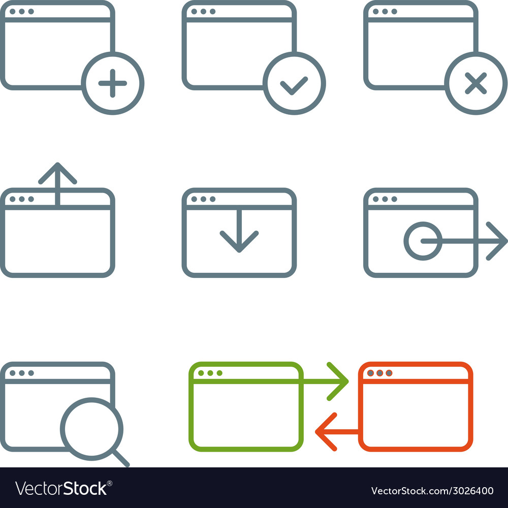 Different web browser icons set with rounded corne vector